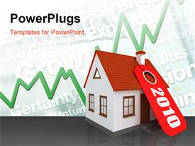 PowerPoint template displaying price tag of the year 2010 on house model with financial keywords