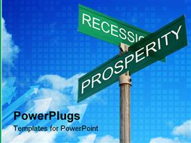 Street signs with recession and prosperity template for powerpoint