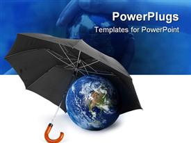 PowerPoint template displaying black umbrella over a globe - concept of earth protection Earth
