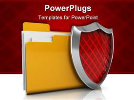 PowerPoint template displaying folder icon with shield