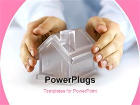PowerPoint template displaying hands covering a glass model home with pink color