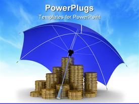 PowerPoint template displaying protection of money. Isolated 3D depiction in the background.