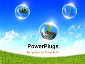 PowerPoint template displaying abstract bubbles symbol of environment protection against the blue sky and clouds
