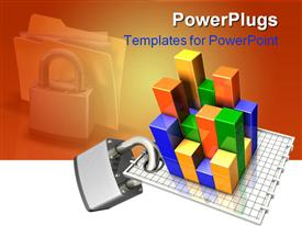 PowerPoint template displaying large metal padlock