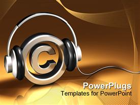Pair of headphones on a chrome metallic copyright symbol on a reflective gold sign powerpoint design layout
