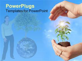 PowerPoint template displaying protecting a new plant in the background.