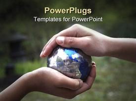PowerPoint template displaying two adult hand holding a small blue earth globe