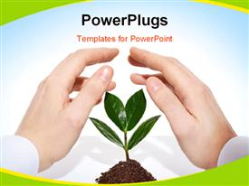 PowerPoint template displaying male hands offering protection for a new sprout in the background.