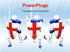 PowerPoint template displaying 3D people with medical shield protecting health with ecg gde
