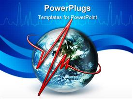 Line pulse on the background of the planet powerpoint template