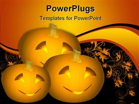 Ilustration of three pumpkins with carved smiling faces and candlelight emitting from them template for powerpoint