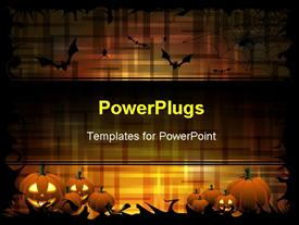 PowerPoint template displaying pumpkins and bats on the dark-orange color