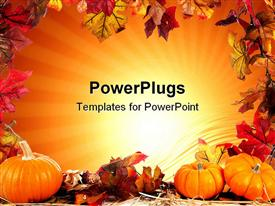 PowerPoint template displaying autumn fall leaf border with orange background and three pumpkins