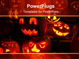 Carved glowing pumpkins at night lit by candles powerpoint design layout
