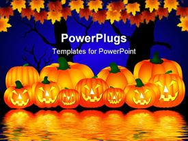 Some Halloween pumpkins near the water powerpoint theme