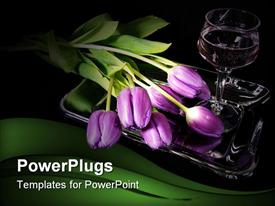 PowerPoint template displaying bouquet of purple tulips and a glass of wine on black in the background.