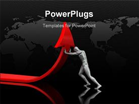 PowerPoint template displaying 3D man pushing red arrow upward with world map