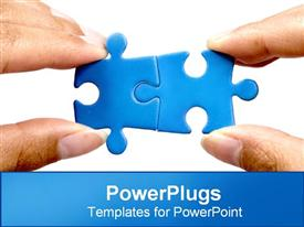 PowerPoint template displaying putting two puzzle pieces together in the background.