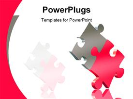 PowerPoint template displaying red and silver puzzle pieces on white background, matching wave border
