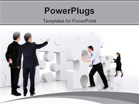 Business teamwork - business men making a puzzle over a white background powerpoint template