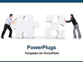 PowerPoint template displaying couple pushing two big puzzles in the background.
