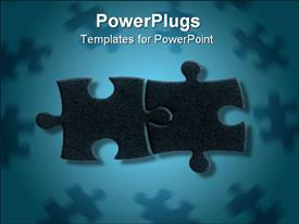 Couple of puzzle pieces surrounded by lesser ones in blue tone powerpoint template