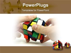Cube in male hands close-up on white template for powerpoint