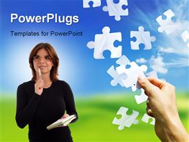 PowerPoint template displaying falling jigsaw pieces with a hand catching one and a lady standing with pen in her hand, nature landscape