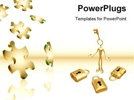PowerPoint template displaying falling Puzzle Pieces and 3D in the background.