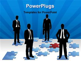 PowerPoint template displaying four business men standing on different blue colored puzzles