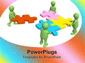 PowerPoint template displaying four green puppets with puzzles in hands in the background.