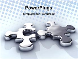 PowerPoint template displaying game idea integration jigsaw join liquid match melt metal metaphor mirror in the background.