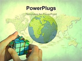 PowerPoint template displaying man solving rubiks with global map over textured grass and green color