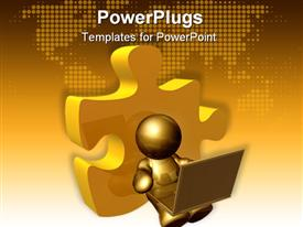 PowerPoint template displaying gold plated icon operating laptop leans on puzzle piece