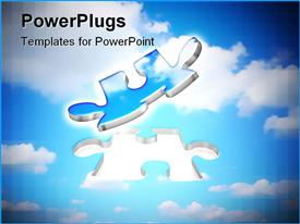 PowerPoint template displaying two blue and silver colored floating puzzle pieces on a cloudy background