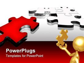 PowerPoint template displaying problem solving metaphor with gold man holding puzzle piece, red and silver puzzle