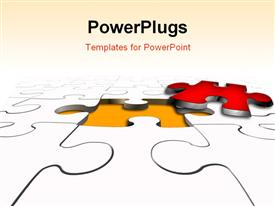 PowerPoint template displaying the missing puzzle piece in red outside with puzzles synced