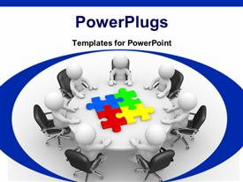 PowerPoint template displaying human characters at a round table and colored puzzle pieces at the center of the table with white color