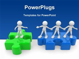 PowerPoint template displaying people - man person and jigsaw puzzle. Helping hand in the background.