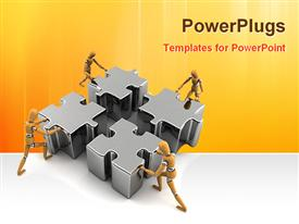 People working with puzzles presentation background