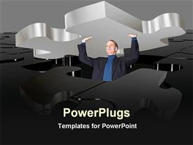 Person lifting a puzzle powerpoint template