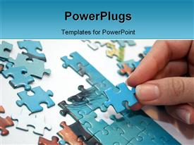 PowerPoint template displaying a woman playing puzzle with white color