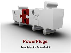 PowerPoint template displaying red missing puzzle piece white background