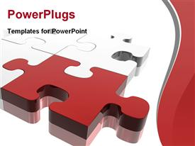 PowerPoint template displaying red jigsaw piece on silver puzzle. Concept: Difference