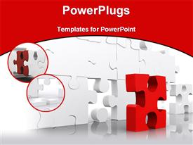 PowerPoint template displaying red puzzle