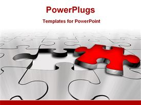 PowerPoint template displaying red puzzle separated from puzzle sheet in the background.