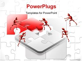 PowerPoint template displaying red and white success teamwork jigsaw puzzle solved over second game in the background.