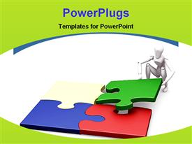 PowerPoint template displaying solving a puzzle in the background.