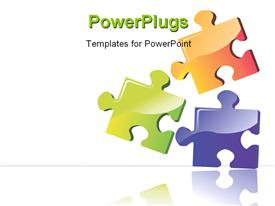 Three color puzzle boards with building powerpoint theme