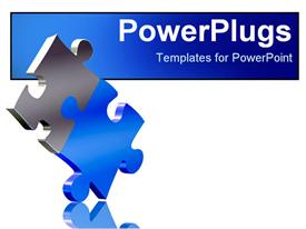 PowerPoint template displaying two pieces of puzzle come together as a solution metaphor on a white background
